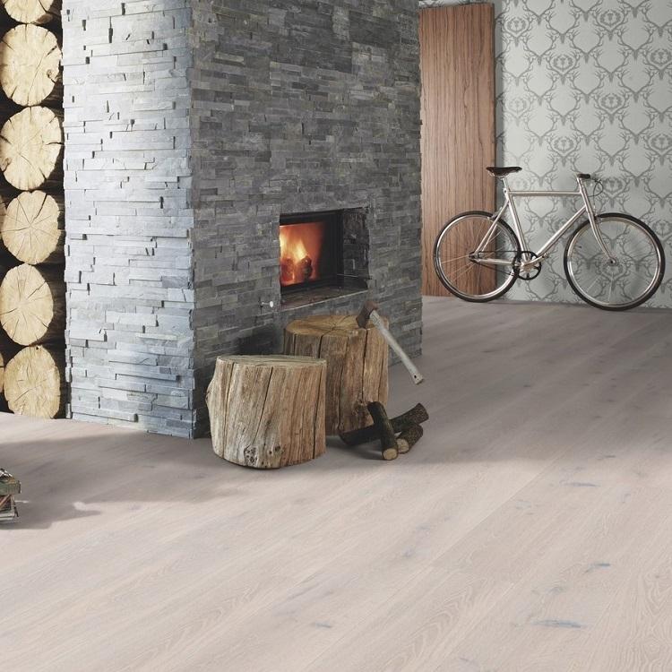 Boen Stonewashed Oak White Stone 209mm Engineered Wood Flooring
