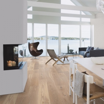 Boen Oak Animoso White Stained Brushed and Bevelled 138mm Engineered Wood Flooring