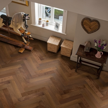 Elka Herringbone Dark Smoked Oak Engineered Parquet Flooring