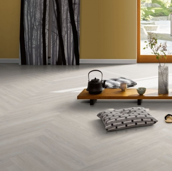 Parador Trendtime 3 Oak Skyline White Natural Laminate Herringbone