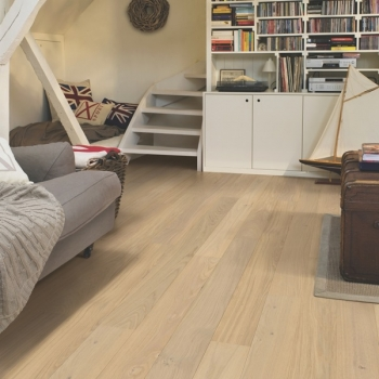 Quickstep Compact Oak Cotton White Matt Engineered Wood Flooring