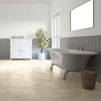 Quick-Step Livyn Ambient Cream Travertin Vinyl Flooring AMCL40046