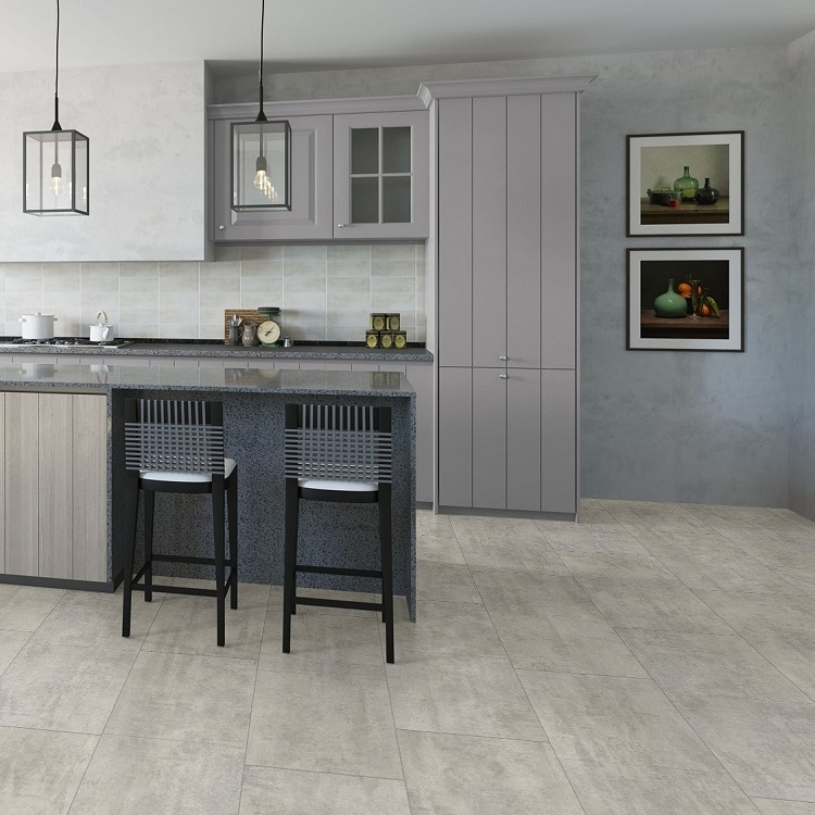 Quick step livyn ambient light grey travertin vinyl for Quickstep kitchen flooring