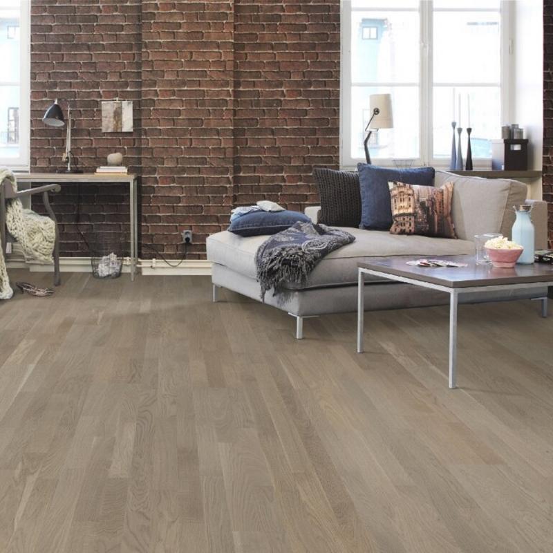 Tarkett Oak Khaki Grey 3-Strip Matt Lacquer Engineered Wood Flooring