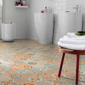 Tarkett Starfloor 30 Click Retro Orange Blue Vinyl Tile Flooring