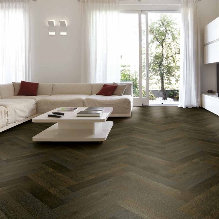 Tuscan Herringbone Smoked And Stained Black Oak Parquet