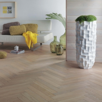 Woodland Classics Cotton White French Oak Herringbone Parquet