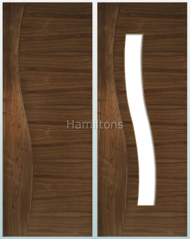 Deanta Walnut Cadiz Solid Panel And Glazed Doors