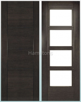 Deanta Montreal Dark Grey Solid Panel And Glazed Doors