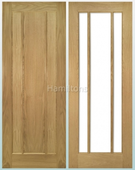 Deanta Oak Norwich Solid Panel Doors And Glazed Doors