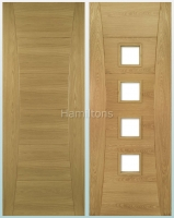 Deanta Oak Pamplona Solid Panel And Glazed Doors