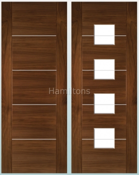 Deanta Walnut Valencia Solid Panel And Glazed Doors
