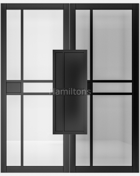 Deanta Black Dalston Solid Panel And Glazed Doors