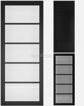 Deanta Black Shoreditch Solid Panel And Glazed Doors
