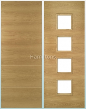 Deanta Oak Augusta Solid Panel And Glazed Doors
