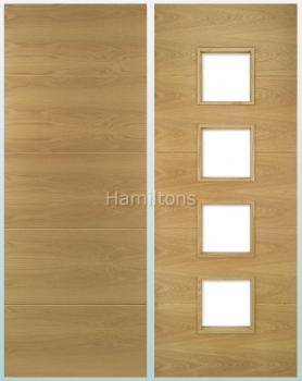 Deanta Oak Augusta Solid Panel And Glazed Doors