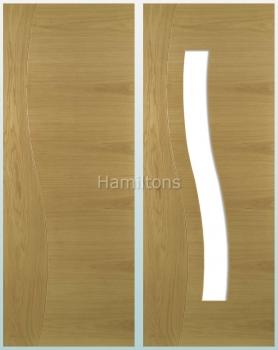 Deanta Oak Cadiz Solid Panel And Glazed Doors