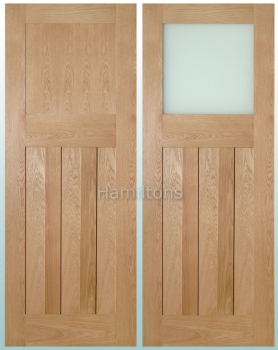 Deanta Oak Cambridge Solid Panel And Glazed Doors