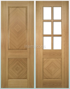 Deanta Oak Kensington Solid Panel And Glazed Doors
