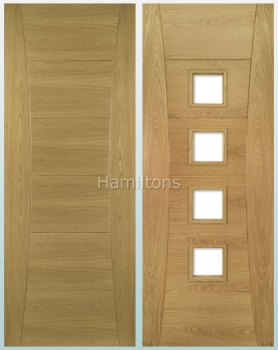 Deanta Oak Pamplona Solid Panel And Glazed Doors