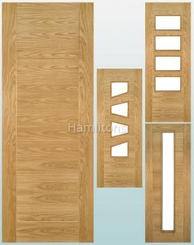 Deanta Oak Seville Solid Panel And Glazed Doors