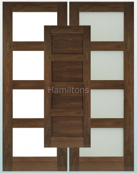 Deanta Walnut Coventry Solid Panel And Glazed Doors
