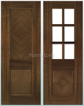 Deanta Walnut Kensington Solid Panel And Glazed Doors