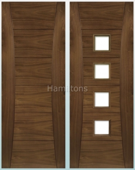 Deanta Walnut Pamplona Solid Panel And Glazed Doors