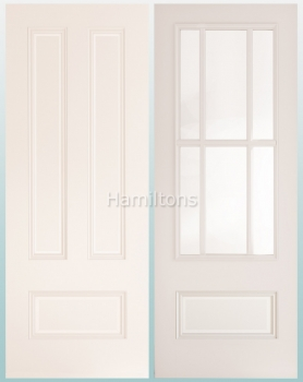 Deanta Canterbury White Solid Panel And Bevelled Glass Doors
