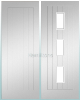 Deanta Ely White Primed Solid Panel And Glazed Doors
