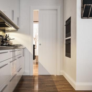 Deanta White Pocket Door System For Single Doors