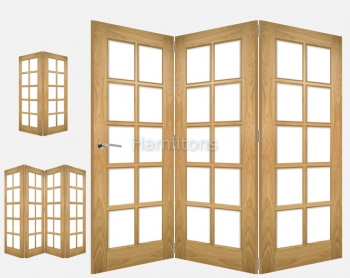 Deanta Oak Bristol 2, 3 and 4 Folding Doors Bevel Glass
