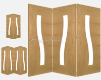 Deanta Oak Cadiz 2, 3 and 4 Folding Doors Clear Glass
