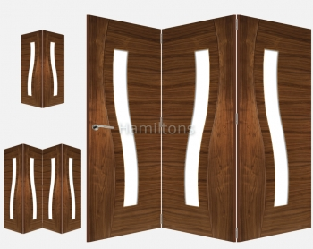 Deanta Walnut Cadiz 2, 3 and 4 Folding Doors Clear Glass