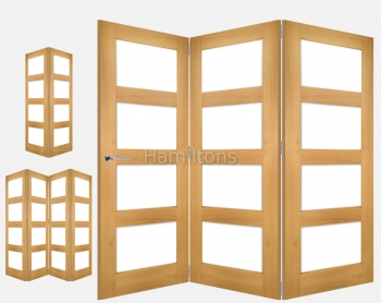 Deanta Fold Oak Coventry Multi Folding Doors Clear Glass