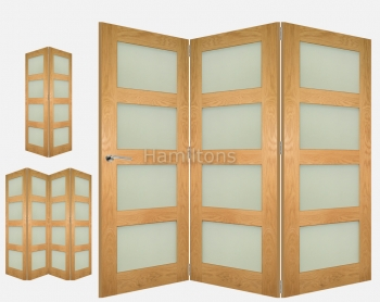 Deanta Fold Oak Coventry Obscure Glass Folding Doors
