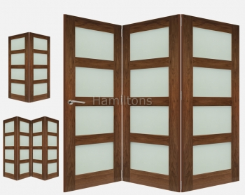 Deanta Walnut Coventry 2 3 and 4 Folding Doors Obscure Glass