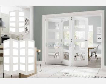 Deanta White Coventry 2, 3 and 4 Folding Doors Clear Glass