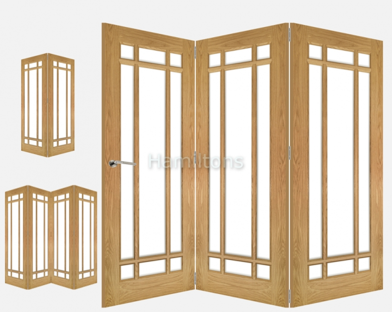 Deanta Oak Kerry 2, 3 and 4 Folding Doors Bevelled Glass