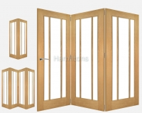 Deanta Oak Norwich 2, 3 and 4 Folding Doors Bevelled Glass