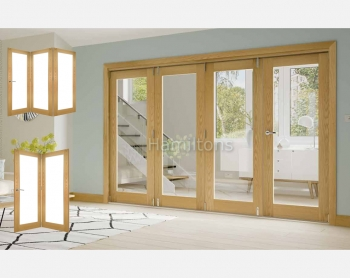 Deanta Oak Walden 2, 3 and 4 Folding Doors Clear Glass