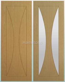 Deanta Oak Sorrento Solid Panel And Glazed Doors