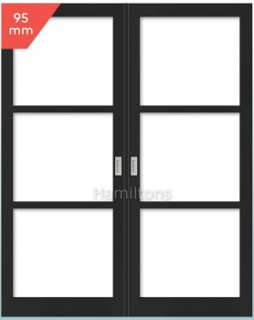Slim Frame 95 Industrial Style 3L French Doors. Any Size Any Colour