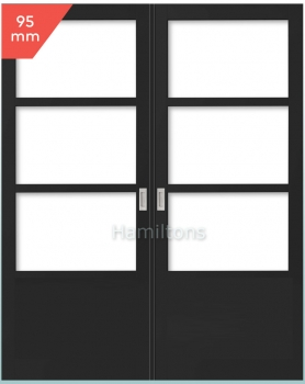 Slimline 95 Industrial Style 3 Light 1 Panel French Doors. Any Colour