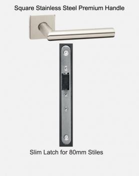 Slimline Handles & Latch For 80mm Doors | Slim Square Stainless Steel