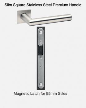 Slimline Handles & Latch For 95mm Doors | Slim Square Stainless Steel