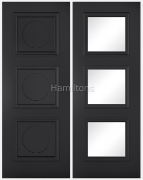 LPD Colours Antwerp Black Solid Panel And Glazed Doors