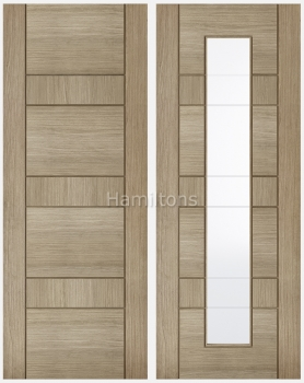 LPD Oak Edmonton Light Grey Solid Panel and Glazed Doors