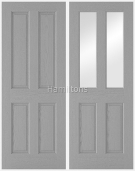 LPD Textured 4 Panel Grey and 2 Panel / 2 Light Glazed Grey Doors