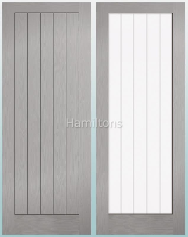 LPD Textured Vertical 5 Panel and 1 Light Grey Doors